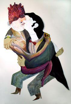 "Kissing Woman #1  gouache, paper, mixed media 42"" x 69"" #jordanbruner #gouache #mixedmedia #characterdesign #illustration #handdrawn"