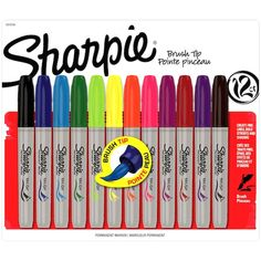 Sanford-Sharpie: Brush Tip Marker Set. The Reliability And Dependability Of A Traditional Sharpie Marker Is Now Available In A Brush Tip Marker. Create Fine Lines Or Bold Strokes Simply By Changing The Pressure Of Your Hand. The Brightly Colored Ink Is Fa Sharpie Set, Arte Sharpie, Sharpie Markers, Sharpie Colors, Sharpie Doodles, Paint Markers, School Supplies, Craft Supplies, Office Supplies
