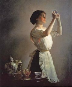 Joseph DeCamp (American artist, 1858-1923) The Blue Cup 1909.   Another with nice lighting.  Interesting subject and composition.