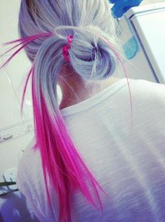 Cool blonde with hot pink dip dye!