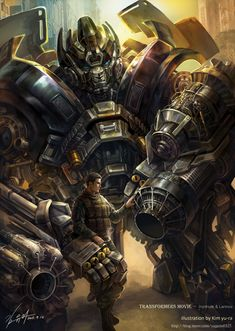 Dude this artist is wicked awesome. Ironhide and Lennox from Transformers. Love it! :)