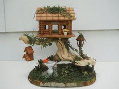 OOAK Fairy House Log Cabin Fairy Garden by FlowersandFrills, $32.95, Etsy