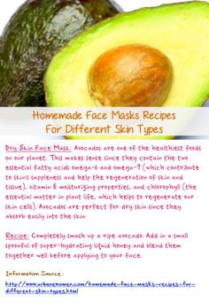 Homemade Face Masks Recipes For Different Skin Types: Dry Skin Face Mask - Face Mask Made From Avocado Is Best For Individuals With Dry Skin, As Avocados Can Be Absorbed Easily Into The Skin... Source: http://www.urbanewomen.com/homemade-face-masks-recipes-for-different-skin-types.html