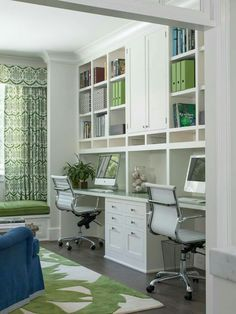This has a bright cheerful clean look. I like the two desk areas, and the built ins. Love the white chairs too.