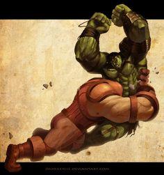 The Hulk battle the Juggernauht