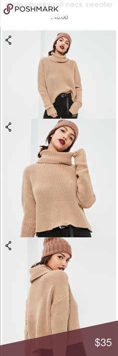 nude chunky roll neck sweater New with tags, never worn Missguided Sweaters Cowl & Turtlenecks