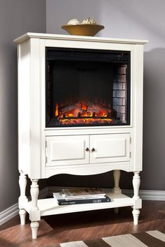 Cute Idea Fireplace Set Into A Vintage Cabinet Hello Society