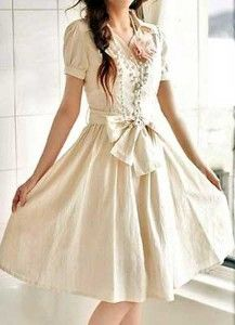 Cream dress with bow