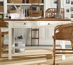 Whitney Project Table - Almond White | Pottery Barn