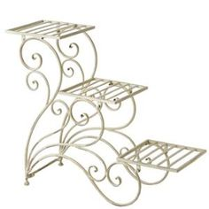 "30"" Unique Cream Peacock Scroll 3-tier Plant Stand"