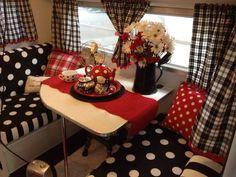 Polka dots, plaid, red,  black & white vintage trailer interior... cute, cute, cute!
