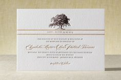 """Oak Tree"" - Rustic, Elegant Letterpress Wedding Invitations in Chocolate by annie clark."