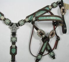 Turquoise Gator Tack Set with Pacific Opal Crystals by Running Roan Tack