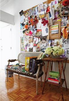 Inspiration board - dying to put a huge one of these up in my house! or next place I live. Like pinterest pinboard in your room! : )