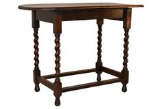 19th-C. English Oak Large Side Table