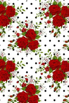 Red roses and black and white polka dots by ka_lou Classic roses with a hipster twist on this black and white background. Available on fabric, wallpaper, and gift wrap.