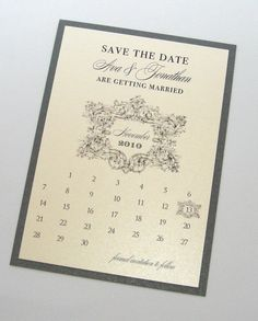 Ava Vintage Wedding Save the Date card - Vintage Wedding - Calendar Save the Date - Custom Wedding Card - Ivory and Pewter - Sample by EmbellishedPaperie on Etsy https://www.etsy.com/listing/59493413/ava-vintage-wedding-save-the-date-card