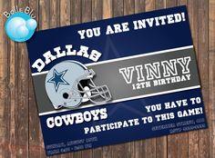 Dallas Cowboys Ticket Birthday Party Invitations Printable