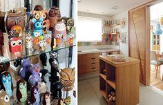 No armário de farmácia, comprado na feira do Bixiga, em São Paulo, ficam as mais de 150 corujas. Para a moradora, além de sabedoria, elas rep...