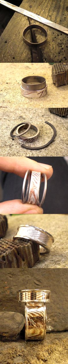 Flanked and lined mokume ring step by step by *fairyfrog - Anello con mokume gane, realizzazione step by step