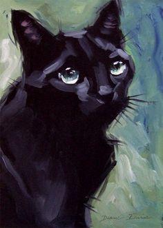 Black cat painting - original oil 8 x 8 inches by Diane Irvine Armitage.