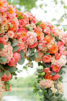 Living Coral - Pantone Color of the Year 2019 - Wedding Inspiration living coral flower wedding ceremony arch - wedding inspiration with pantone color of the year Coral Wedding Flowers, Floral Wedding, Wedding Bouquets, Peach Flowers, Trendy Wedding, Colorful Flowers, Boho Wedding, Fall Flowers, Wedding Dresses