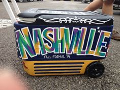 PAINTED BY ALYCIA Fraternity formal cooler painting Greek life Nashville fall formal watercolor big font letters stars jack Daniels