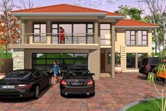 4 Bedroom House Plans, My House Plans, Family House Plans, Double Storey House Plans, Two Storey House, House Pillars, Building Costs, Storey Homes, Guest Bed