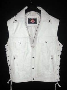 Leather-Shop.Biz White leather vest jean jacket style MLV1310 all colors, sizes and options available