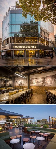 11 Of The Most Uniquely Designed Starbucks Coffee Shops From Around The World | This Starbucks was redesigned to take advantage of the height of the building and the scenic views around it. The four level location features a rooftop patio that looks out over Istanbul's Bosphorus Strait, and tall windows to allow those sitting inside to enjoy the views of the water and surrounding city.