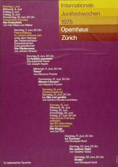Internationale Juni-Festwochen Zürich 1975 - Opernhaus Zürich - (...)-Plakat