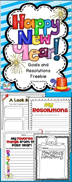 "FREE!! New Year's Resolutions and Goals. Plus a creative writing prompt! ..... Follow for FREE ""Too-neat-not-to-keep"" teaching tools & other fun stuff :)"