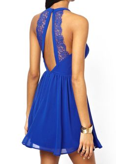 Blue Sleeveless Sheer Lace Pleated Dress - abaday.com
