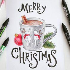 """138 Likes, 5 Comments - Рисую ЕмПутешествую (@uljana_andreevna) on Instagram: """"Всех с Рождеством!  Нарисовала маркерами открытку для конкурса #арт_новый_год от @artkvartal.…"""""""