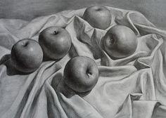 "Richard Romero Art: Still Life Apples Drawing 18x24"""