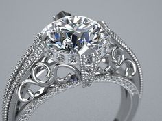 Diamond Solitare Halo Crown 14K White Gold Milgrain