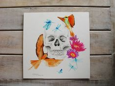 Living Essence from the Skull Series.  Watercolor and pencil on illustration board. skull art birds waterlilies dragonflies dragonfly beach vintage decor