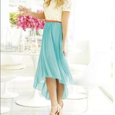 Tiffany blue high low hem skirt Lauren Conrad blue chiffon skirt. Has high low hemline. Solid skirt underneath for a romantic look. PERFECT for spring! Lauren conrad  Skirts High Low