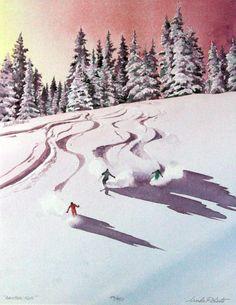 watercolor art Image of Rainbow Run, art, ski painting, winter painting Watercolor Art Landscape, Landscape Artwork, Abstract Landscape, Watercolor Paintings, Landscape Architecture, Painting Snow, Winter Painting, Ski Drawing, Drawing Board