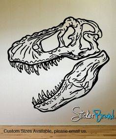 Vinyl Wall Decal Sticker Dinosaur Dino T-Rex Skull Head KRiley120A