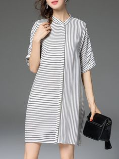 Shop Mini Dresses - White Half Sleeve Crew Neck Mini Dress online. Discover unique designers fashion at StyleWe.com.