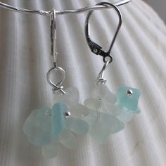 Natural Sea Glass Sterling Silver Lever Back Earrings Soft Pastel Aqua Seafoam Sea Glass Ring, Sea Glass Necklace, Sea Glass Jewelry, Glass Earrings, Sea Foam, Fashion Rings, White Gold, Engagement Rings, Sterling Silver