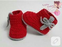 Tığ İşi Ayakkabı Tarzı Örgü Bebek Patiği ModelinYapılışı ( Anlatımlı )