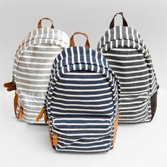 Striped fleece backpacks.