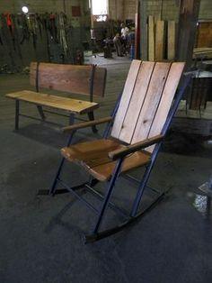Custom Made Big Blackfoot Rocker #1 Wrought Iron and sinker pine