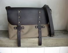 Khaki Brown Messenger Bag Canvas Leather Straps by avivaschwarz, $88.00