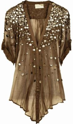 Sequin embellished sheer olive silk chiffon top