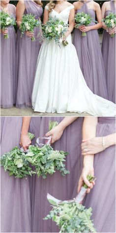Lavender ladies, lilac bridesmaids, long dress, chic organza maids // Love Behind the Lens Photography