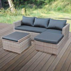 Details zu Hawaii POLY RATTAN Lounge Schwarz Gartenset Sofa ...
