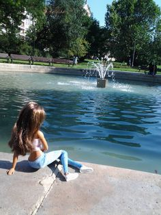 Barbie Made to Move Skateboarder resting near a fountain